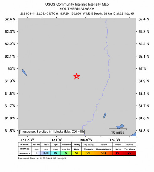 GEO Community Internet Intensity Map for the Willow, Alaska 2.5m Earthquake, Monday Jan. 11 2021, 1:09:40 PM