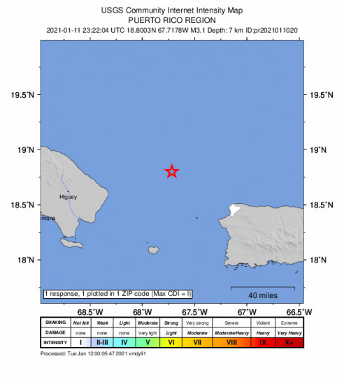 Community Internet Intensity Map for the Rincón, Puerto Rico 3.11m Earthquake, Monday Jan. 11 2021, 7:22:04 PM
