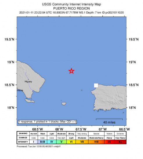GEO Community Internet Intensity Map for the Rincón, Puerto Rico 3.11m Earthquake, Monday Jan. 11 2021, 7:22:04 PM