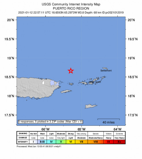 Community Internet Intensity Map for the Culebra, Puerto Rico 3.84m Earthquake, Tuesday Jan. 12 2021, 6:57:11 PM