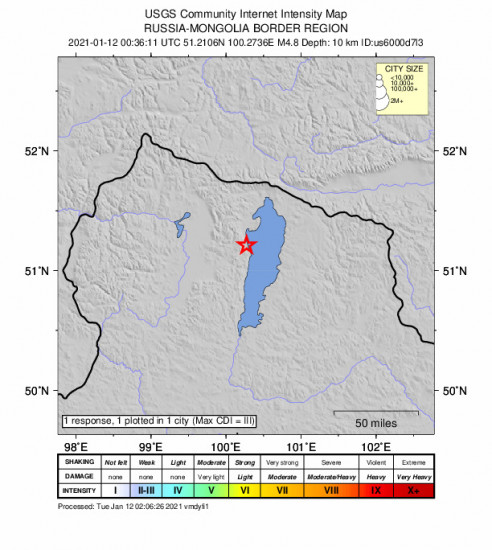 Community Internet Intensity Map for the Turt, Mongolia 4.8m Earthquake, Tuesday Jan. 12 2021, 8:36:11 AM