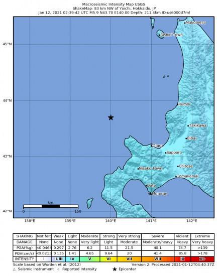 Macroseismic Intensity Map for the Yoichi, Japan 5.9m Earthquake, Tuesday Jan. 12 2021, 11:39:42 AM