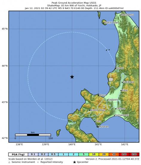 Peak Ground Acceleration Map for the Yoichi, Japan 5.9m Earthquake, Tuesday Jan. 12 2021, 11:39:42 AM