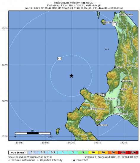 Peak Ground Velocity Map for the Yoichi, Japan 5.9m Earthquake, Tuesday Jan. 12 2021, 11:39:42 AM