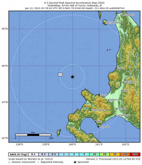 0.3 Second Peak Spectral Acceleration Map for the Yoichi, Japan 5.9m Earthquake, Tuesday Jan. 12 2021, 11:39:42 AM