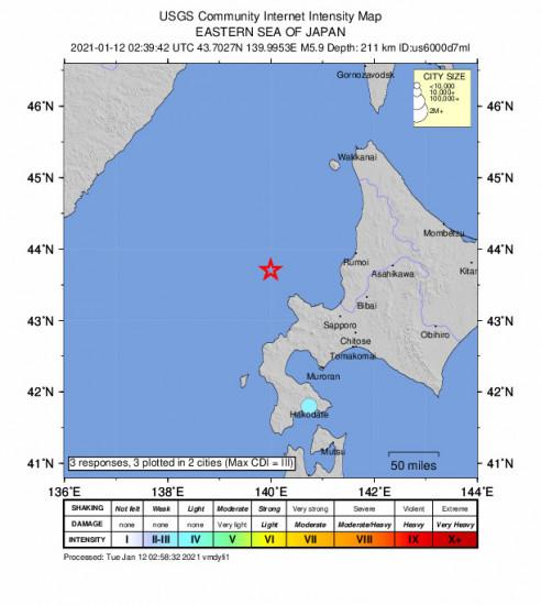Community Internet Intensity Map for the Yoichi, Japan 5.9m Earthquake, Tuesday Jan. 12 2021, 11:39:42 AM