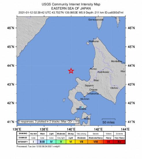 GEO Community Internet Intensity Map for the Yoichi, Japan 5.9m Earthquake, Tuesday Jan. 12 2021, 11:39:42 AM