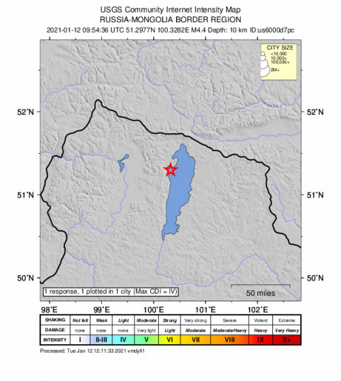 Community Internet Intensity Map for the Turt, Mongolia 4.4m Earthquake, Tuesday Jan. 12 2021, 5:54:36 PM