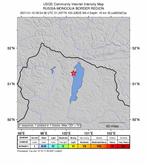 GEO Community Internet Intensity Map for the Turt, Mongolia 4.4m Earthquake, Tuesday Jan. 12 2021, 5:54:36 PM