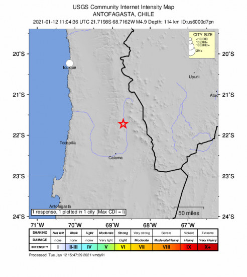 Community Internet Intensity Map for the Calama, Chile 4.9m Earthquake, Tuesday Jan. 12 2021, 8:04:36 AM