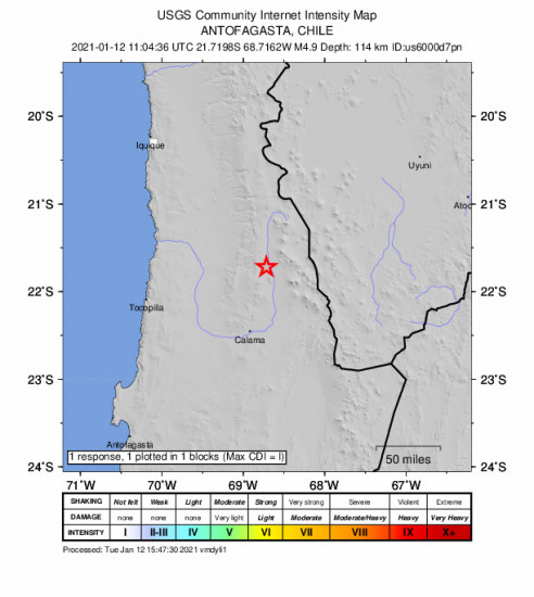 GEO Community Internet Intensity Map for the Calama, Chile 4.9m Earthquake, Tuesday Jan. 12 2021, 8:04:36 AM