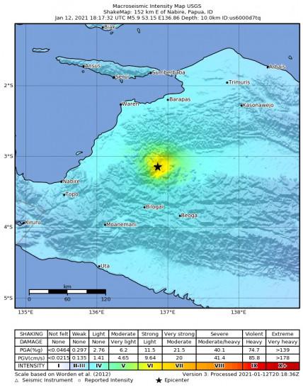 Macroseismic Intensity Map for the Nabire, Indonesia 5.9m Earthquake, Wednesday Jan. 13 2021, 3:17:32 AM