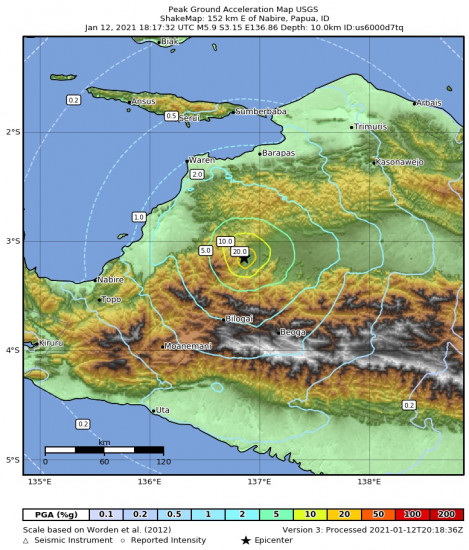 Peak Ground Acceleration Map for the Nabire, Indonesia 5.9m Earthquake, Wednesday Jan. 13 2021, 3:17:32 AM