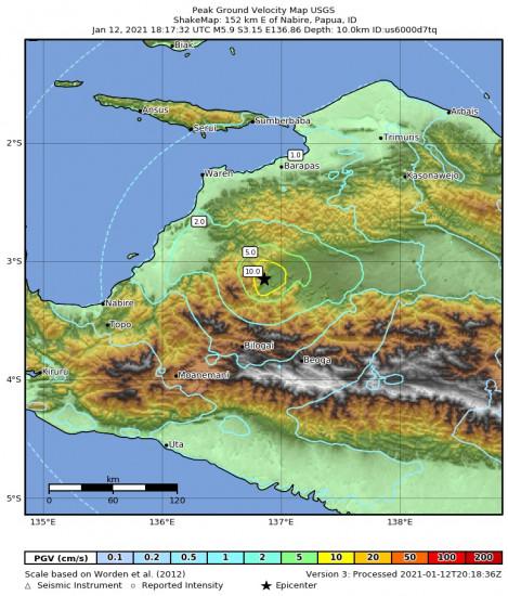 Peak Ground Velocity Map for the Nabire, Indonesia 5.9m Earthquake, Wednesday Jan. 13 2021, 3:17:32 AM