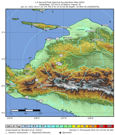 1 Second Peak Spectral Acceleration Map for the Nabire, Indonesia 5.9m Earthquake, Wednesday Jan. 13 2021, 3:17:32 AM