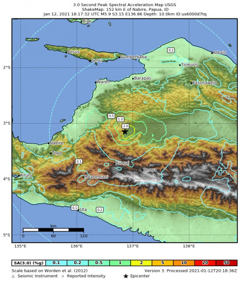 3 Second Peak Spectral Acceleration Map for the Nabire, Indonesia 5.9m Earthquake, Wednesday Jan. 13 2021, 3:17:32 AM