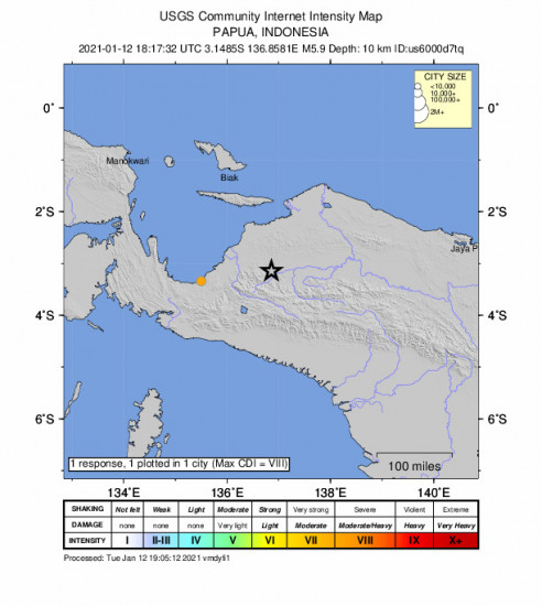 Community Internet Intensity Map for the Nabire, Indonesia 5.9m Earthquake, Wednesday Jan. 13 2021, 3:17:32 AM