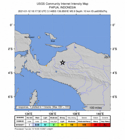 GEO Community Internet Intensity Map for the Nabire, Indonesia 5.9m Earthquake, Wednesday Jan. 13 2021, 3:17:32 AM