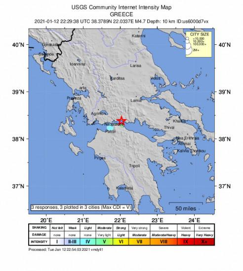 Community Internet Intensity Map for the Kamárai, Greece 4.7m Earthquake, Wednesday Jan. 13 2021, 12:29:38 AM
