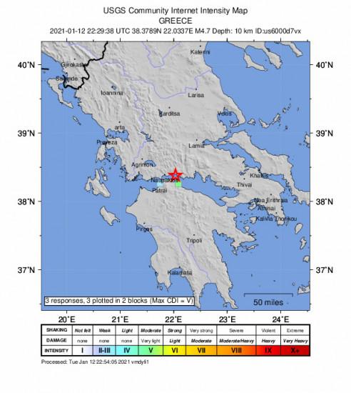 GEO Community Internet Intensity Map for the Kamárai, Greece 4.7m Earthquake, Wednesday Jan. 13 2021, 12:29:38 AM