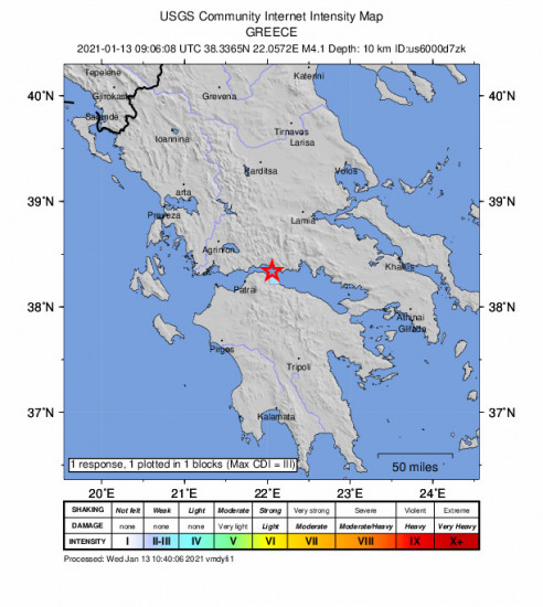 GEO Community Internet Intensity Map for the Kamárai, Greece 4.1m Earthquake, Wednesday Jan. 13 2021, 11:06:08 AM