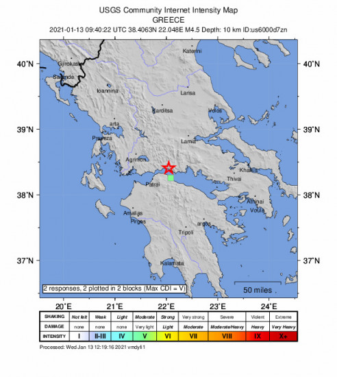 GEO Community Internet Intensity Map for the Kamárai, Greece 4.5m Earthquake, Wednesday Jan. 13 2021, 11:40:22 AM
