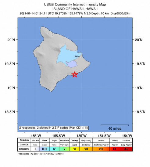 Community Internet Intensity Map for the Volcano, Hawaii 3m Earthquake, Wednesday Jan. 13 2021, 3:34:11 PM