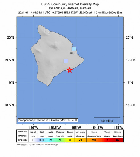 GEO Community Internet Intensity Map for the Volcano, Hawaii 3m Earthquake, Wednesday Jan. 13 2021, 3:34:11 PM