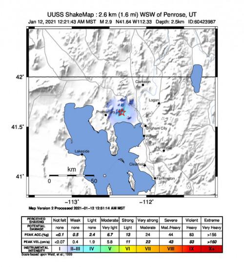 Macroseismic Intensity Map for the Thatcher, Utah 2.87m Earthquake, Tuesday Jan. 12 2021, 12:21:43 AM