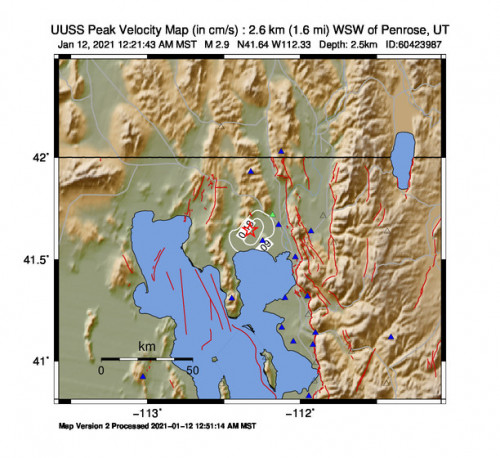 Peak Ground Velocity Map for the Thatcher, Utah 2.87m Earthquake, Tuesday Jan. 12 2021, 12:21:43 AM