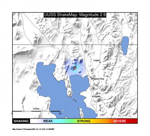 Shakemap for the Thatcher, Utah 2.87m Earthquake, Tuesday Jan. 12 2021, 12:21:43 AM