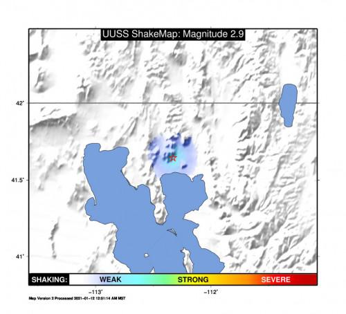 Shakemap Bare for the Thatcher, Utah 2.87m Earthquake, Tuesday Jan. 12 2021, 12:21:43 AM