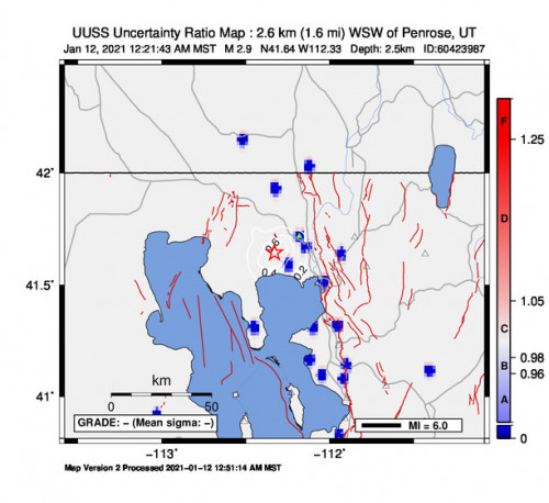 Peak Ground Acceleration Map for the Thatcher, Utah 2.87m Earthquake, Tuesday Jan. 12 2021, 12:21:43 AM