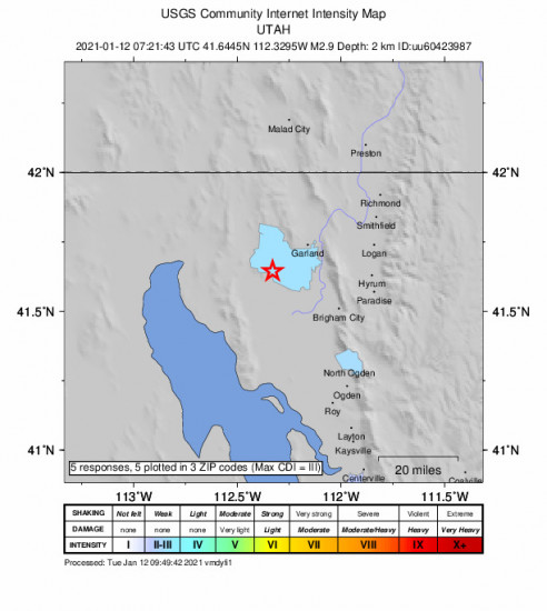 Community Internet Intensity Map for the Thatcher, Utah 2.87m Earthquake, Tuesday Jan. 12 2021, 12:21:43 AM