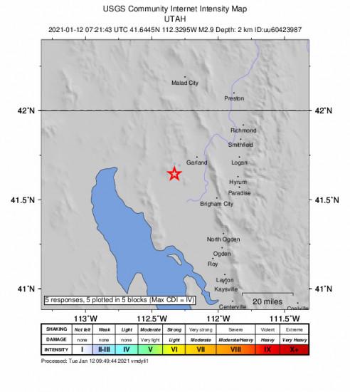 GEO Community Internet Intensity Map for the Thatcher, Utah 2.87m Earthquake, Tuesday Jan. 12 2021, 12:21:43 AM