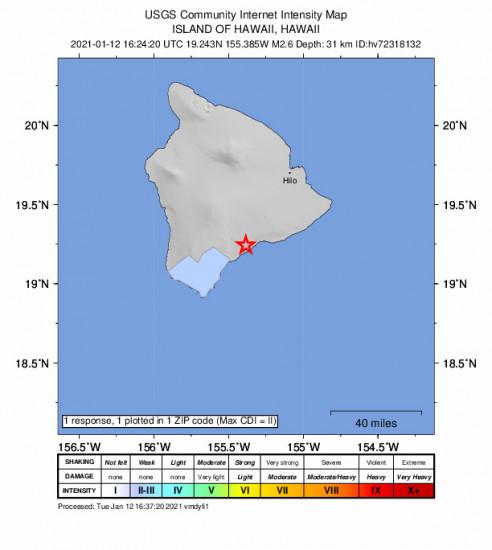 Community Internet Intensity Map for the Pāhala, Hawaii 2.58m Earthquake, Tuesday Jan. 12 2021, 6:24:20 AM