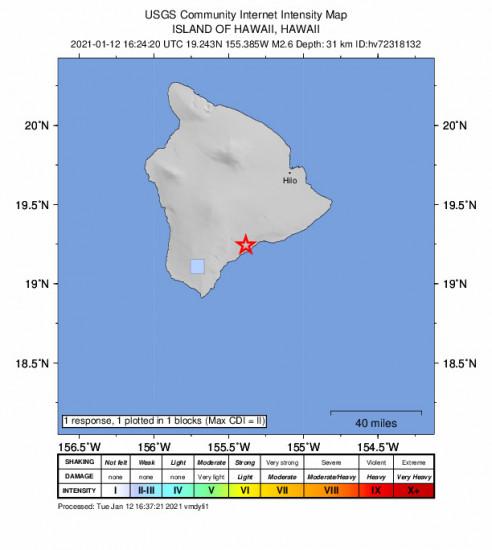GEO Community Internet Intensity Map for the Pāhala, Hawaii 2.58m Earthquake, Tuesday Jan. 12 2021, 6:24:20 AM
