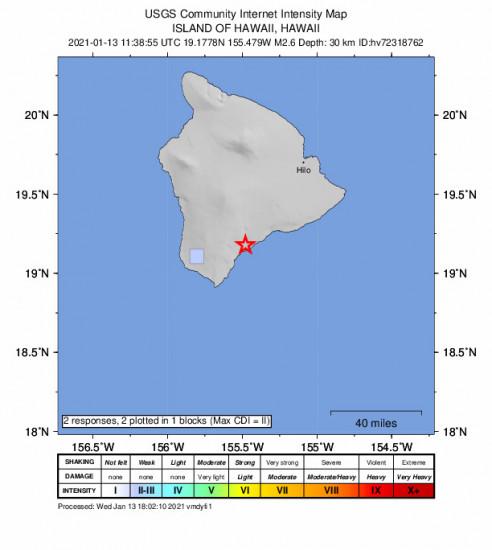 GEO Community Internet Intensity Map for the Pāhala, Hawaii 2.57m Earthquake, Wednesday Jan. 13 2021, 1:38:55 AM