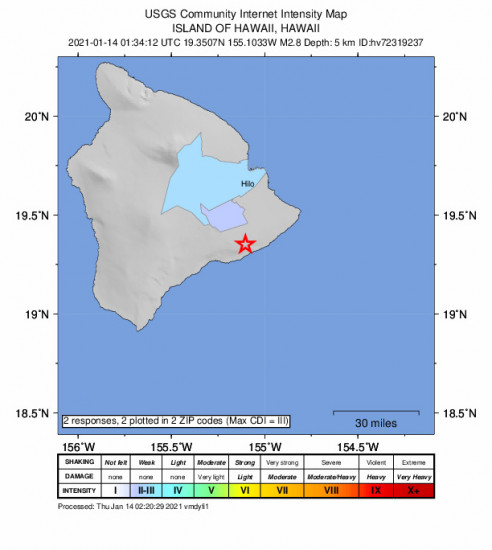 Community Internet Intensity Map for the Fern Forest, Hawaii 2.83m Earthquake, Wednesday Jan. 13 2021, 3:34:12 PM