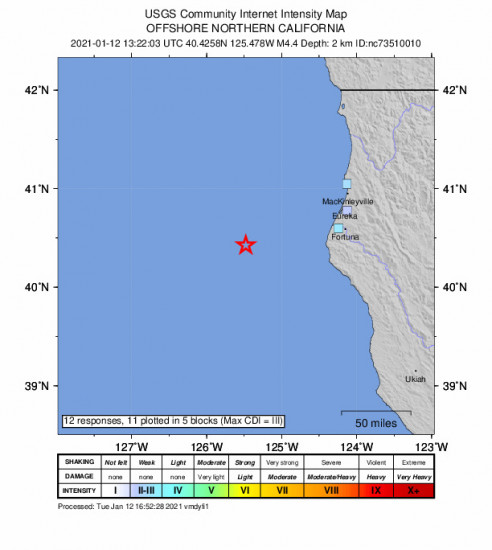 GEO Community Internet Intensity Map for the Petrolia, Ca 4.36m Earthquake, Tuesday Jan. 12 2021, 5:22:03 AM