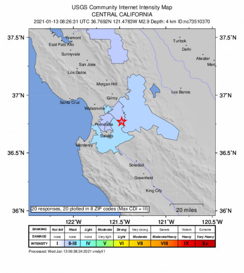 Community Internet Intensity Map for the San Juan Bautista, Ca 2.9m Earthquake, Wednesday Jan. 13 2021, 12:26:31 AM