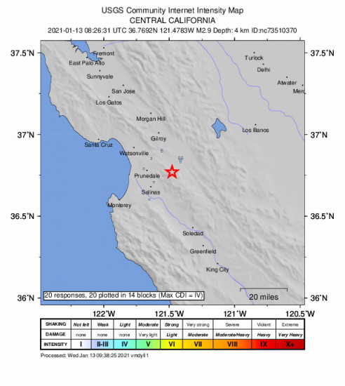 GEO Community Internet Intensity Map for the San Juan Bautista, Ca 2.9m Earthquake, Wednesday Jan. 13 2021, 12:26:31 AM