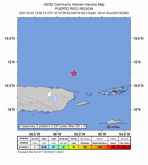 Community Internet Intensity Map for the Vieques, Puerto Rico 3.22m Earthquake, Monday Feb. 22 2021, 11:52:13 AM