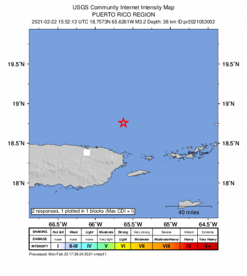 GEO Community Internet Intensity Map for the Vieques, Puerto Rico 3.22m Earthquake, Monday Feb. 22 2021, 11:52:13 AM