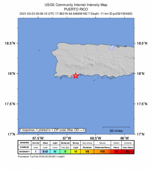 Community Internet Intensity Map for the Indios, Puerto Rico 2.71m Earthquake, Monday Feb. 22 2021, 8:06:10 PM