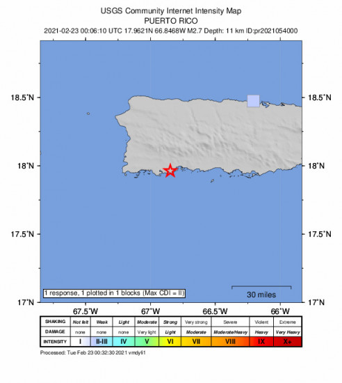 GEO Community Internet Intensity Map for the Indios, Puerto Rico 2.71m Earthquake, Monday Feb. 22 2021, 8:06:10 PM