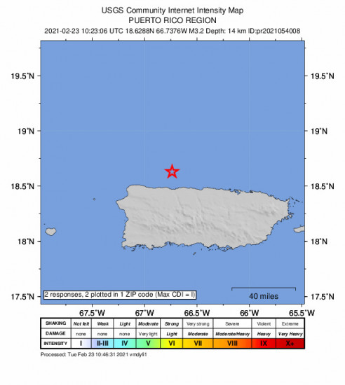 Community Internet Intensity Map for the Puerto Rico Region 3.16m Earthquake, Tuesday Feb. 23 2021, 6:23:06 AM