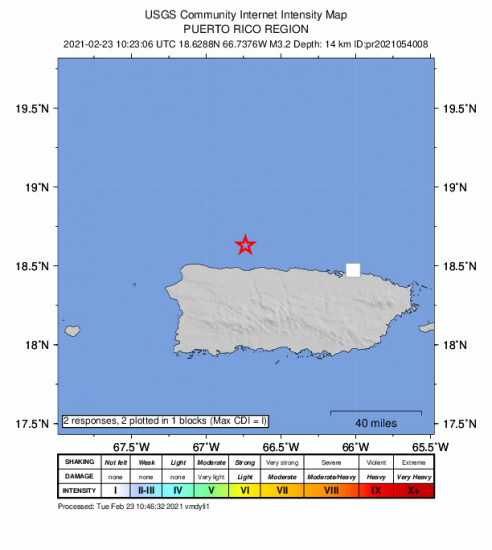 GEO Community Internet Intensity Map for the Puerto Rico Region 3.16m Earthquake, Tuesday Feb. 23 2021, 6:23:06 AM