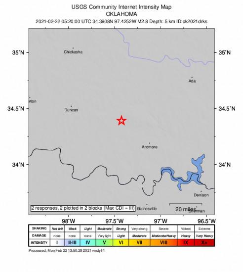GEO Community Internet Intensity Map for the Ratliff City, Oklahoma 2.8m Earthquake, Sunday Feb. 21 2021, 11:20:00 PM