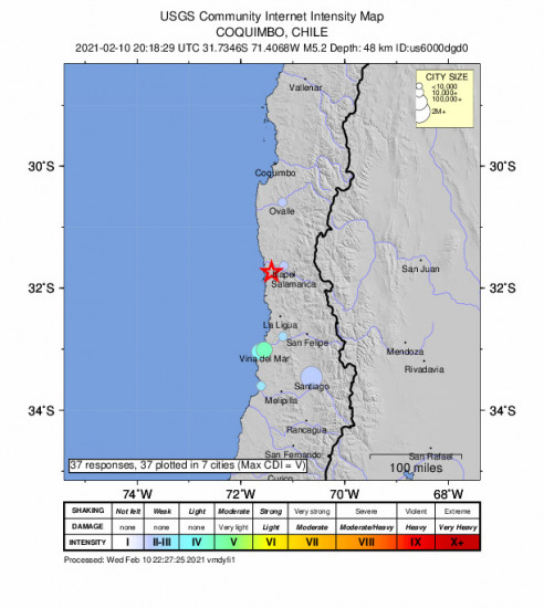 Community Internet Intensity Map for the Illapel, Chile 5.2m Earthquake, Wednesday Feb. 10 2021, 5:18:29 PM